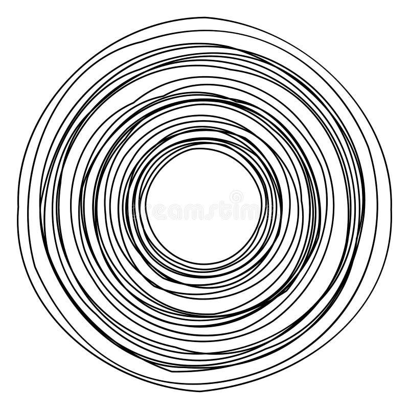 Circular geometric motif. Abstract grayscale op-art element royalty free illustration