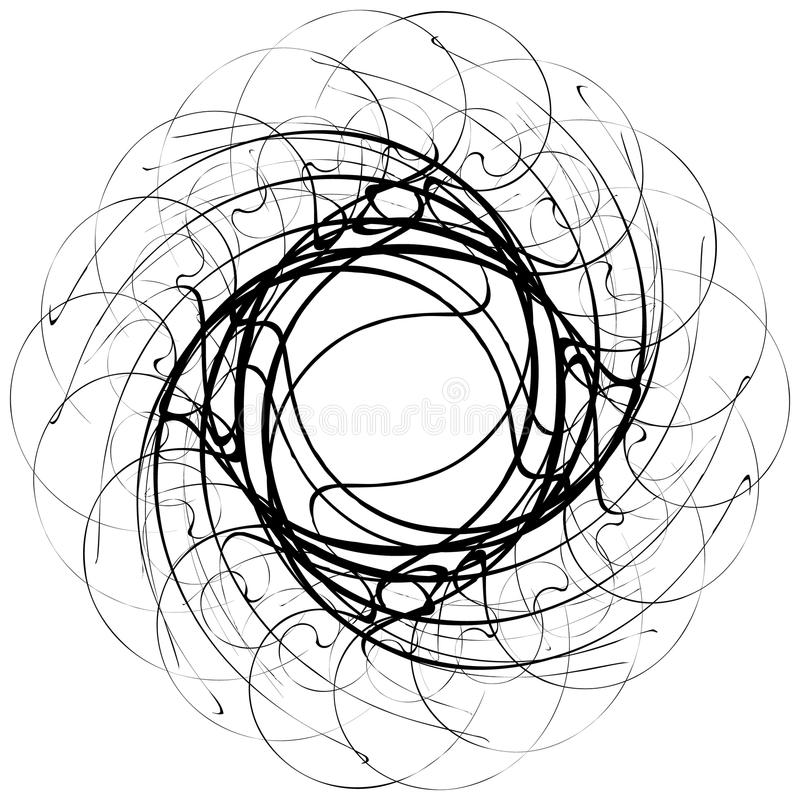 Circular geometric motif. Abstract grayscale op-art element vector illustration
