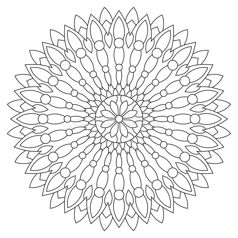 Circular geometric ornament. Round outline Mandala for coloring book page. Vintage decorative elements vector illustration