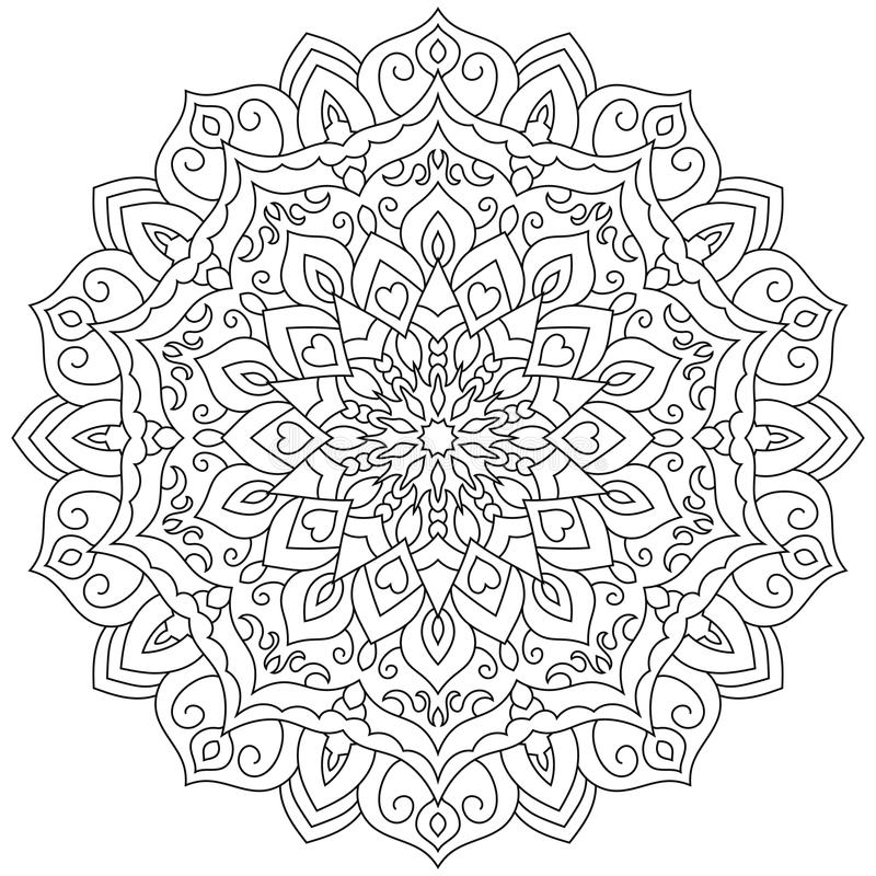Circular geometric ornament. Round outline Mandala for coloring page vector illustration