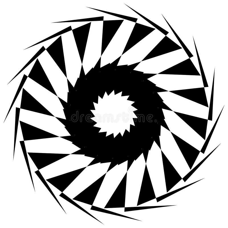 Circular geometric shape. Abstract monochrome spiral element. Royalty free vector illustration stock illustration