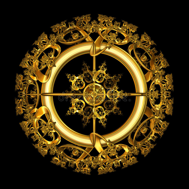 Circular Gold Filigree over black background. An illustration of an elegant antique gold filigree design in a circular shape isolated over black background vector illustration
