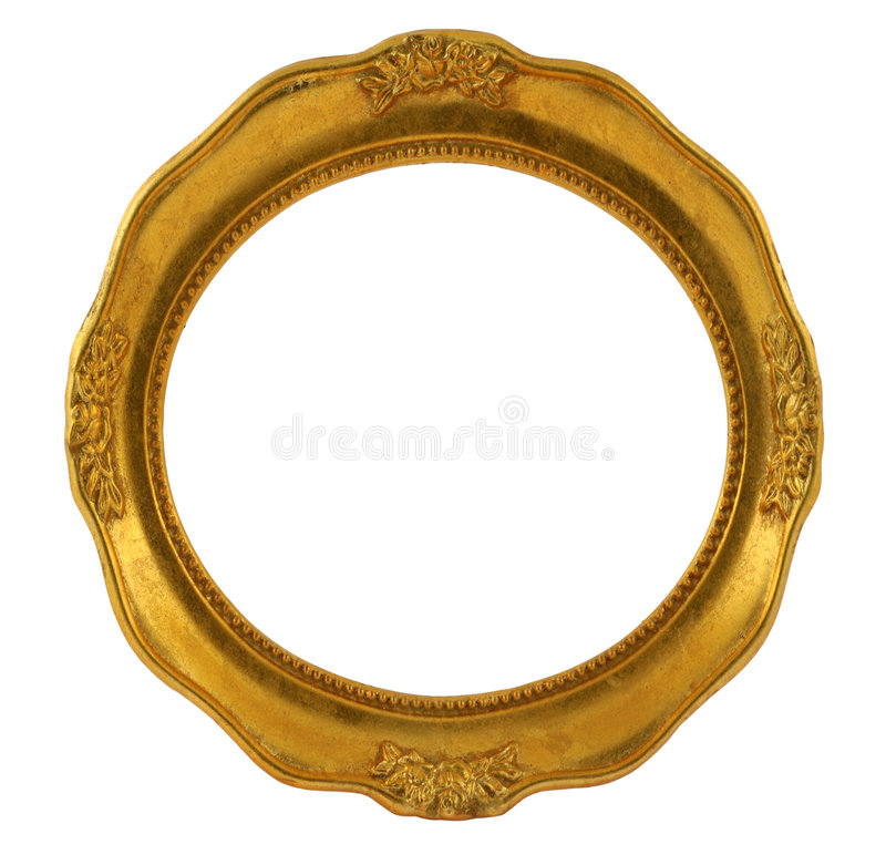 Circular golden frame stock photos
