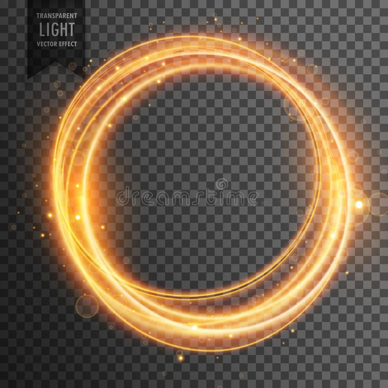Circular golden light effect transparent background royalty free illustration