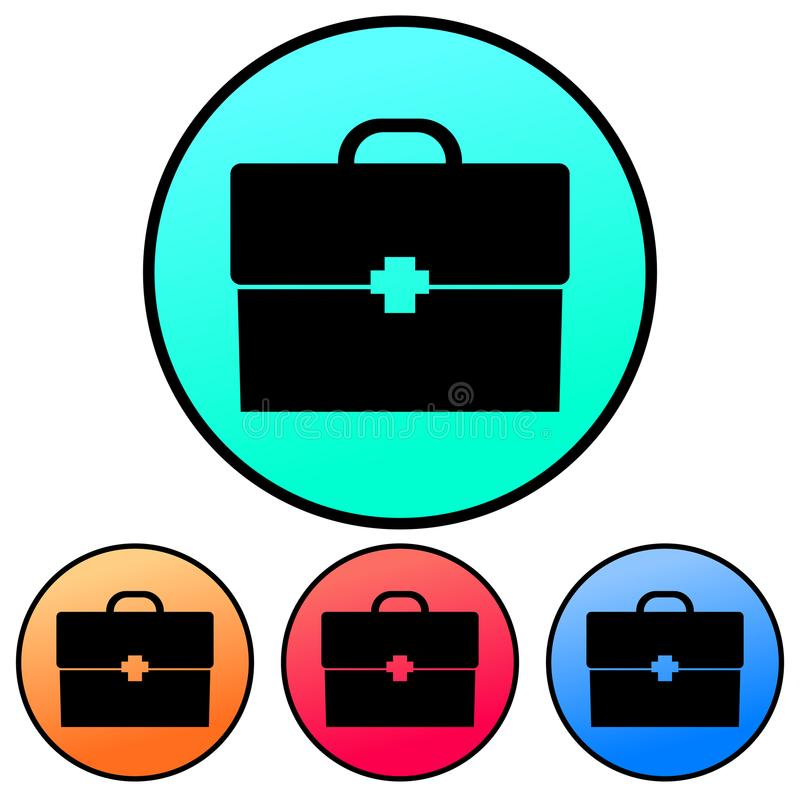 Circular, gradient black suitcase/briefcase silhouette with a cross. Four variations royalty free illustration