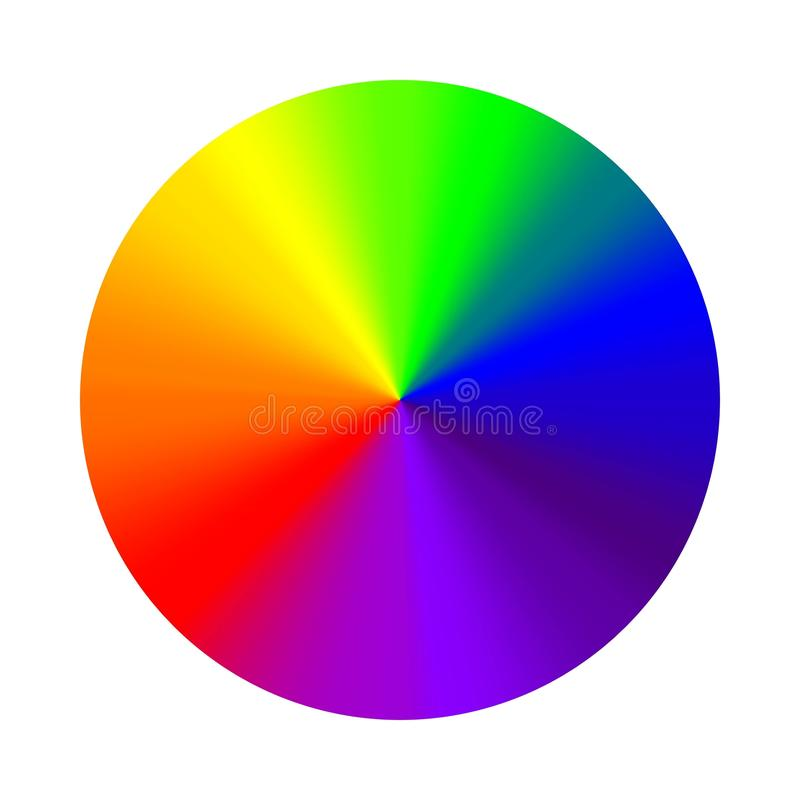 Circular gradient rainbow, vector round color palette cone rainbow gradient. Hex seven colors vector illustration