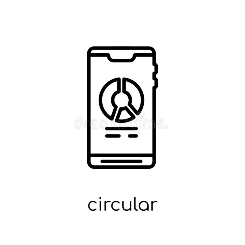 Circular graphic of mobile icon. Trendy modern flat linear vecto stock illustration