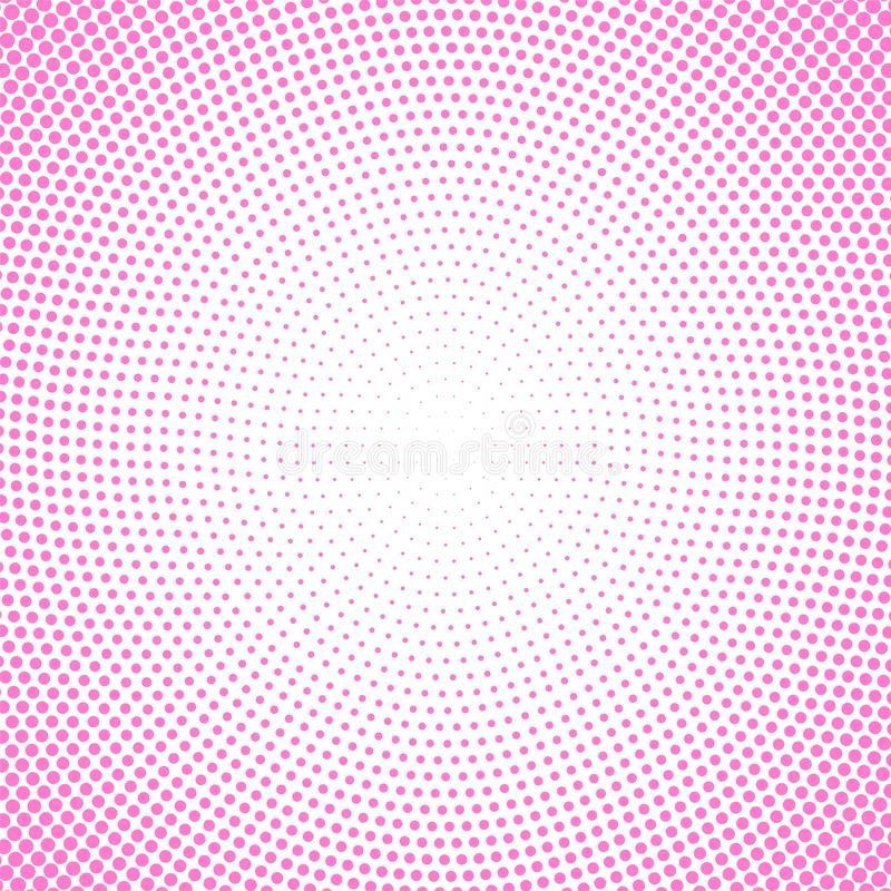 Abstract Pink Circular Halftone Dots Pattern in White Background stock illustration