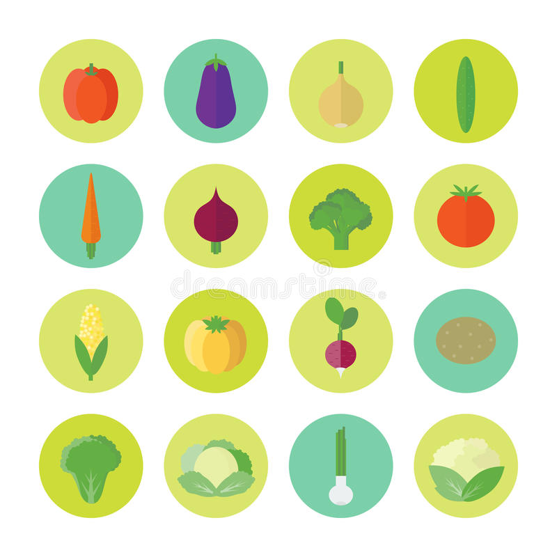 Circular icons with vegetables in flat. Vector illustration stock illustration