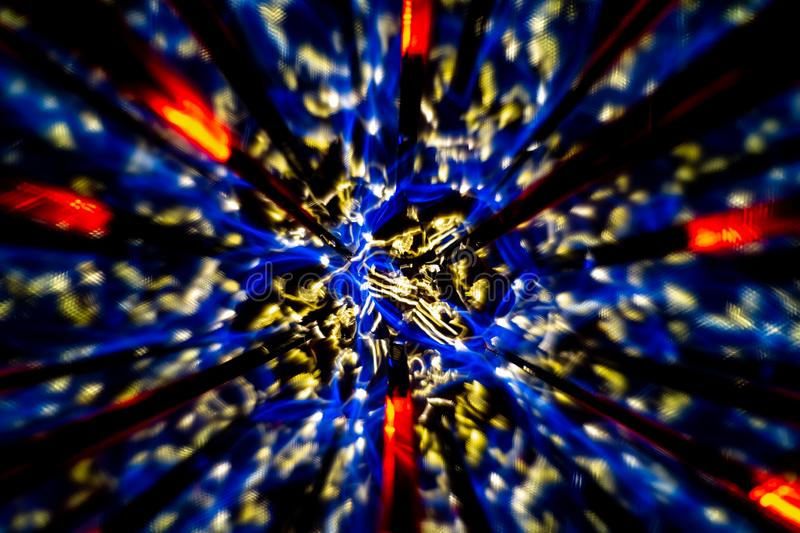 Circular image made with a kaleidoscope. Reflection of lights that generates images of fractal type. Abstract image of circular shape made with a kaleidoscope stock photography
