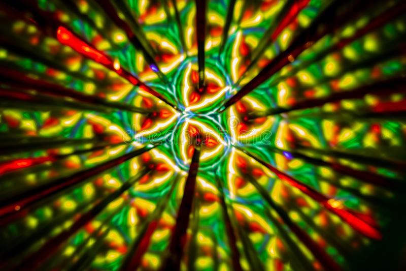 Circular image made with a kaleidoscope. Reflection of lights that generates images of fractal type. Abstract image of circular shape made with a kaleidoscope stock photo