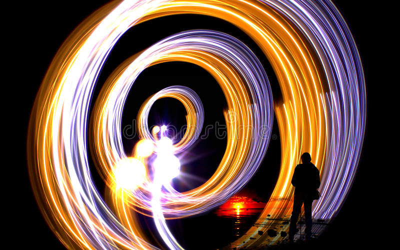 Circular light trails abstract royalty free stock photo