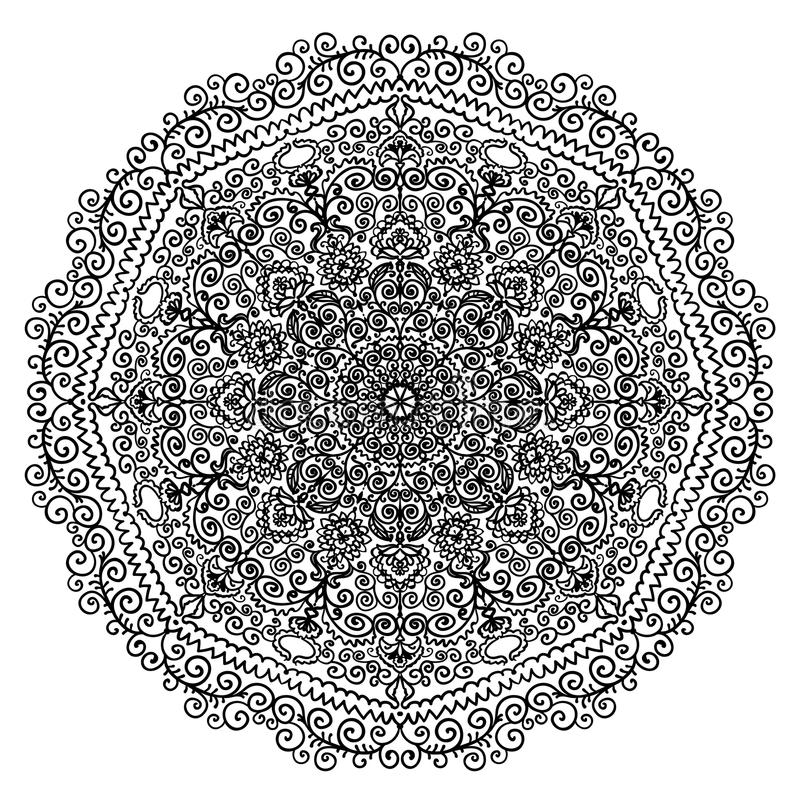 download circular mandala with floral elements and spiral pattern coloring page illustration stock vector illustration