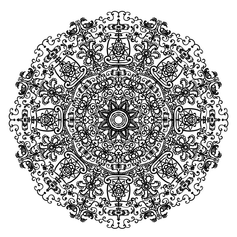 Circular mandala pattern with Slavic motifs and elements of the animal style illustration vector illustration
