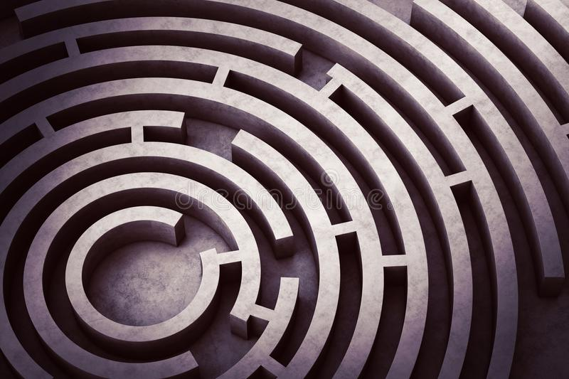 Circular maze stock illustration