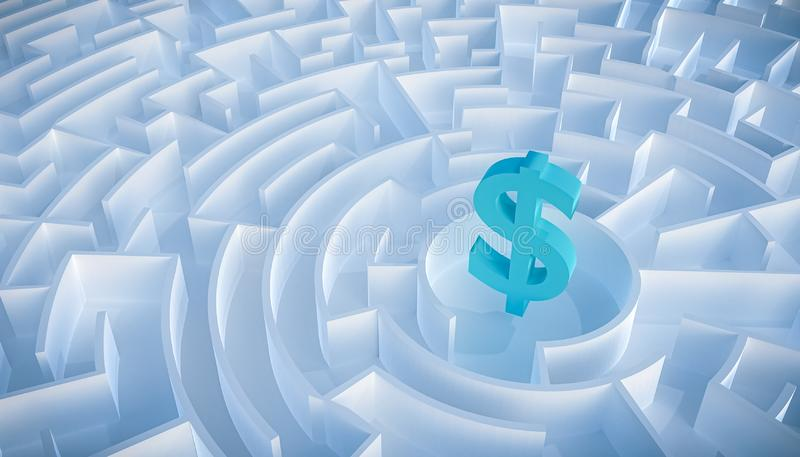 Circular maze or labyrinth with dollar symbol or sign in its center. 3d render illustration. Business and finance concepts. How to. Earn money or way to get vector illustration