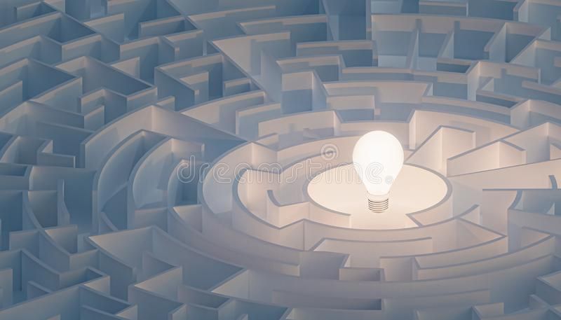 Circular maze or labyrinth with light bulb in its center. Puzzle, riddle, intelligence, thinking, solution, IQ concepts. 3d render illustration stock illustration
