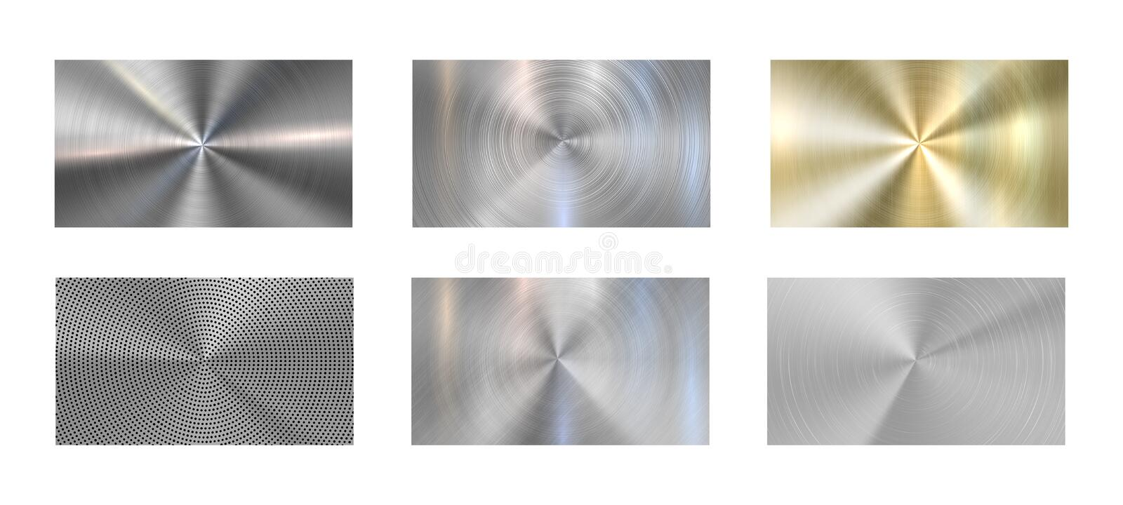Circular metal texture. Radial brushed metals, grey steel and metallic chrome textures realistic vector background set stock illustration