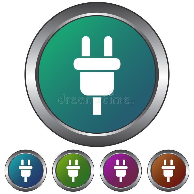 Circular, metallic, gradient, simple power cable/plug icon. Five color variations. Isolated on white royalty free illustration