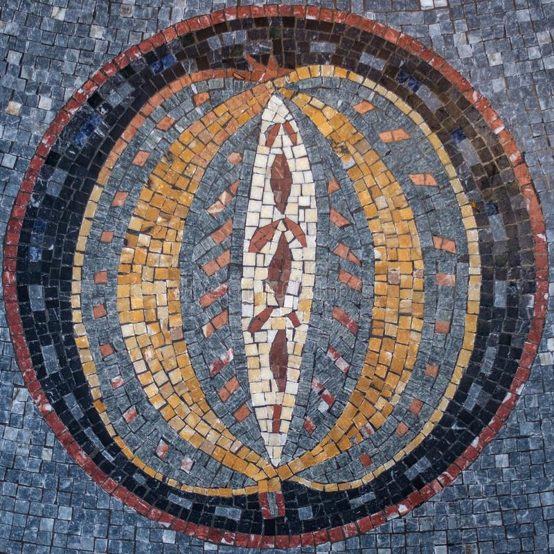 Circular Mosaic with a design at the center. Misaic Floor. Mosaic Design stock images