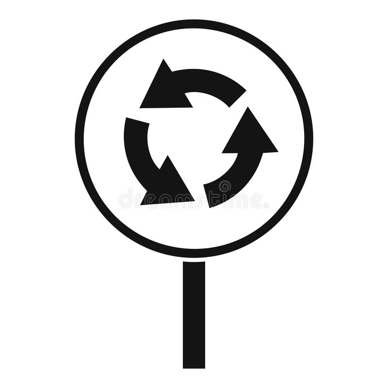 Circular motion road sign icon, simple style. Circular motion road sign icon. Simple illustration of circular motion road sign vector icon for web stock illustration