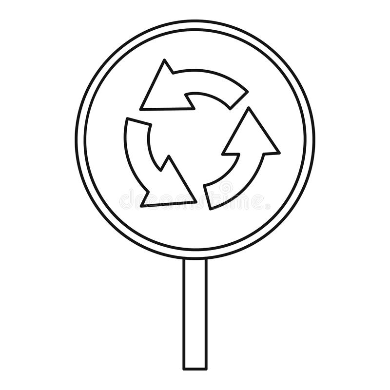 Circular motion traffic sign icon, outline style. Circular motion traffic sign icon. Outline illustration of circular motion traffic sign vector icon for web vector illustration