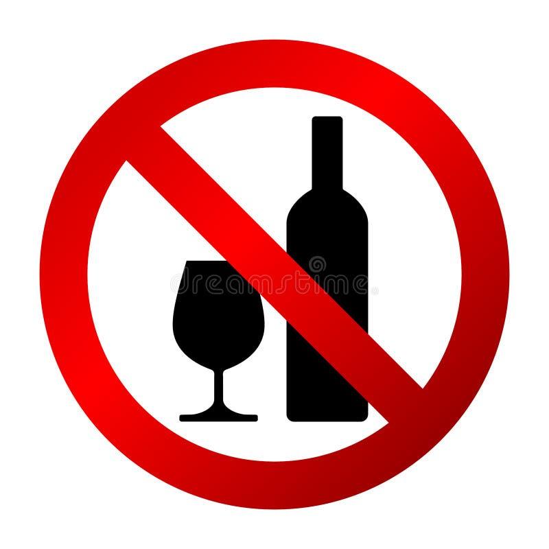 Circular, muestra no permitida alcohólica del ` de las bebidas del ` Muestra roja de la pendiente, botella de vino negra y siluet libre illustration