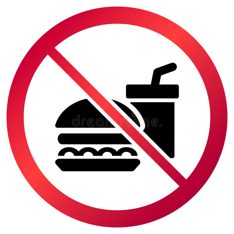 Circular, `No food allowed` sign. Red gradient sign, black drink and burger silhouette vector illustration