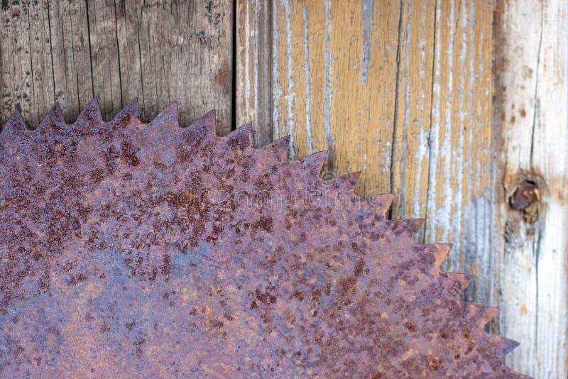 a circular oxidada ascendente próxima viu no fundo de madeira da textura da parede do celeiro ferramenta de funcionamento esqueci fotografia de stock royalty free