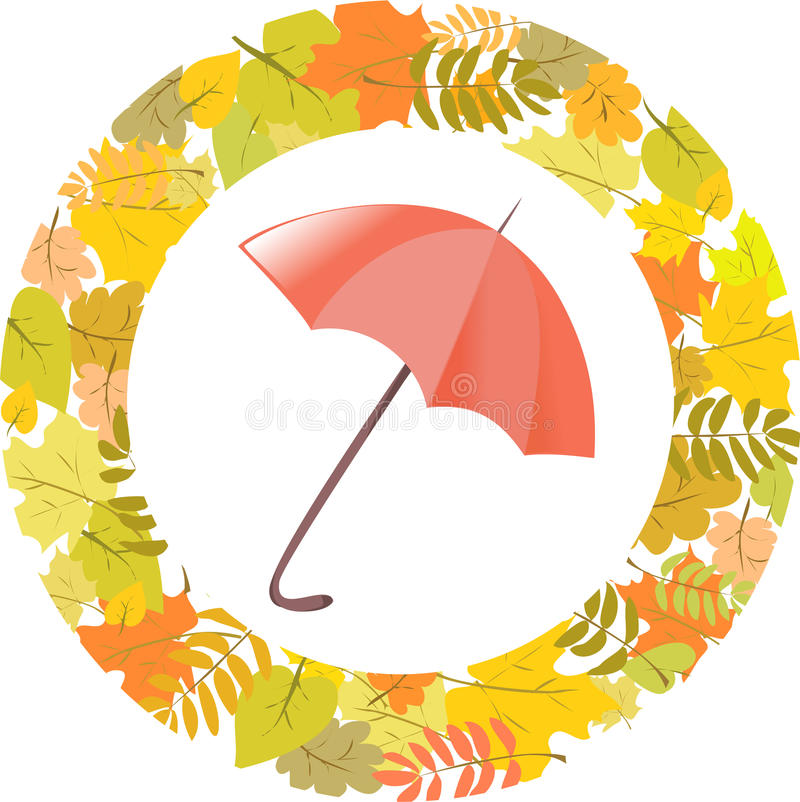 Circular Pattern Of Autumn Leaves And Umbrella Royalty Free Stock Images
