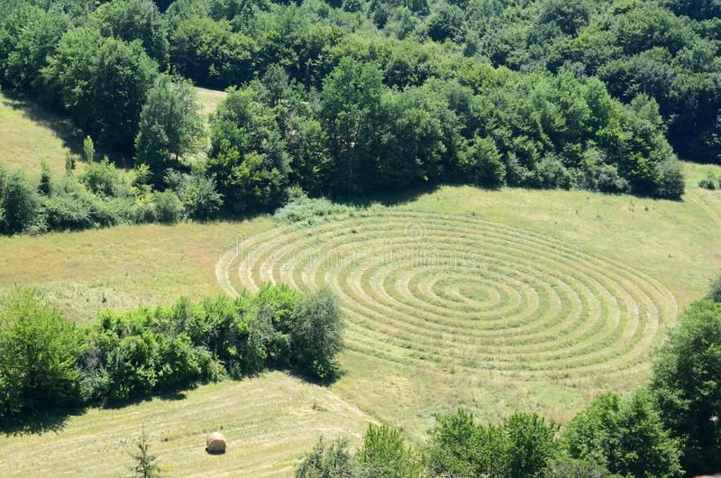 Circular pattern in a field stock images