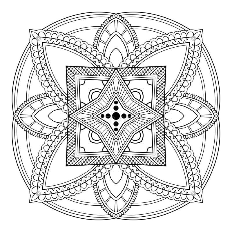 Circular pattern in form of mandala for Henna, Mehndi, tattoo, decoration. Decorative ornament in ethnic oriental style stock illustration