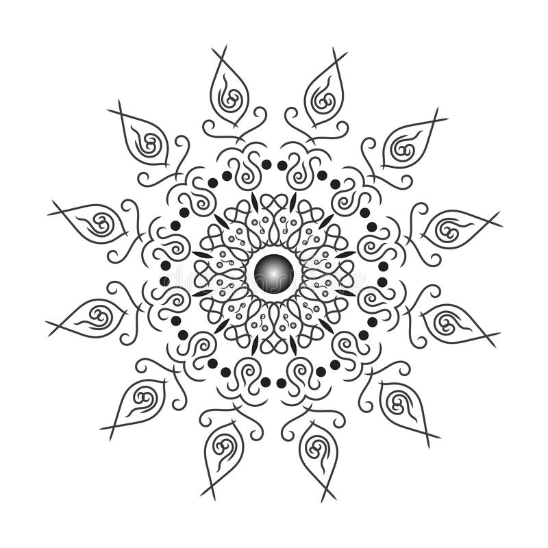 Circular pattern in form of mandala for Henna, Mehndi, tattoo, decoration. Decorative ornament in ethnic oriental style. Coloring. Book page, black, relax royalty free illustration