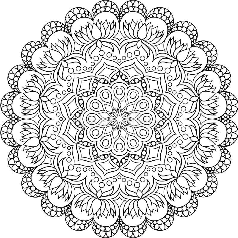 Circular pattern in form of mandala for Henna, Mehndi, tattoo, decoration. royalty free illustration