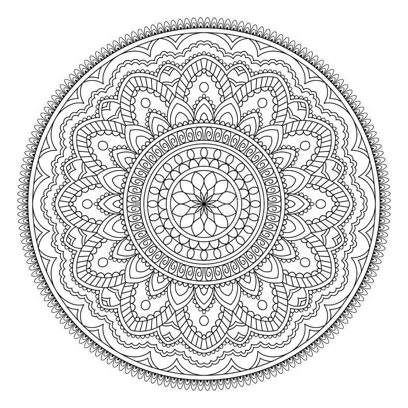 Circular pattern in form of mandala for Henna, Mehndi, tattoo, decoration. Decorative ornament in ethnic oriental style royalty free illustration