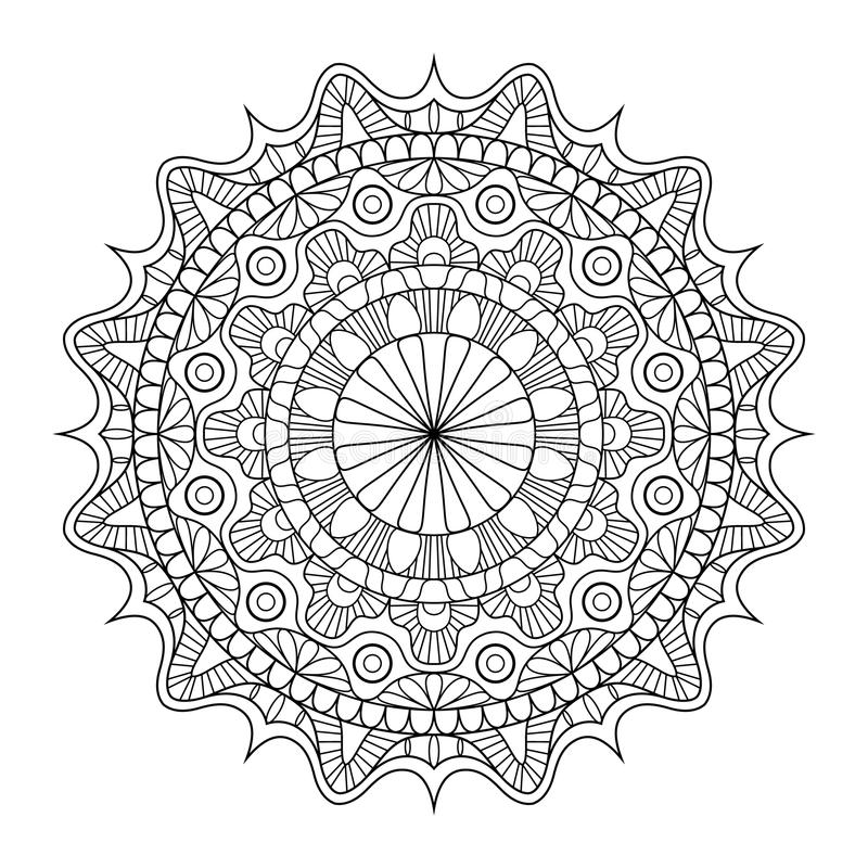 Circular pattern in form of mandala for Henna, Mehndi, tattoo, decoration. Decorative ornament in ethnic oriental style stock illustration