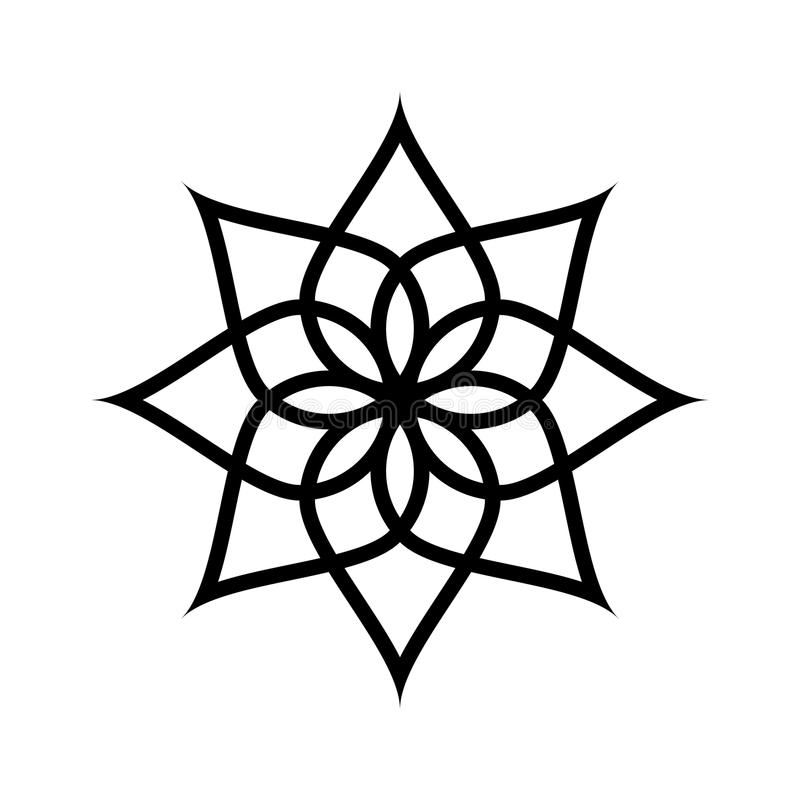 Circular pattern. Geometric icon. Seven pointed star on white background. Modern style. Vector illustration. Simple symbol.Mandala royalty free illustration