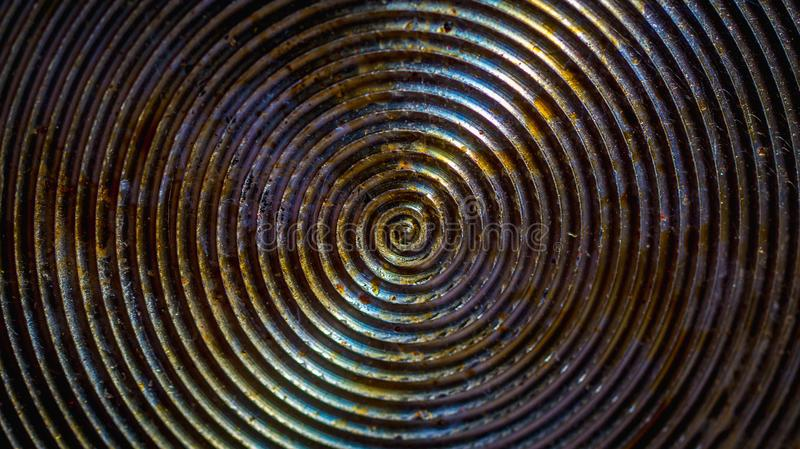 Circular pattern of greasy bottom of frying pan. Or cooking utensil royalty free stock photos