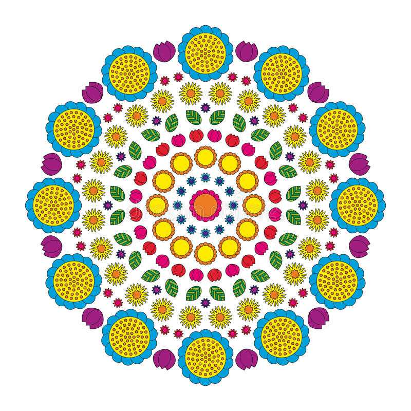 Circular pattern mandala funny spring flowers colored colorful - floral background royalty free illustration