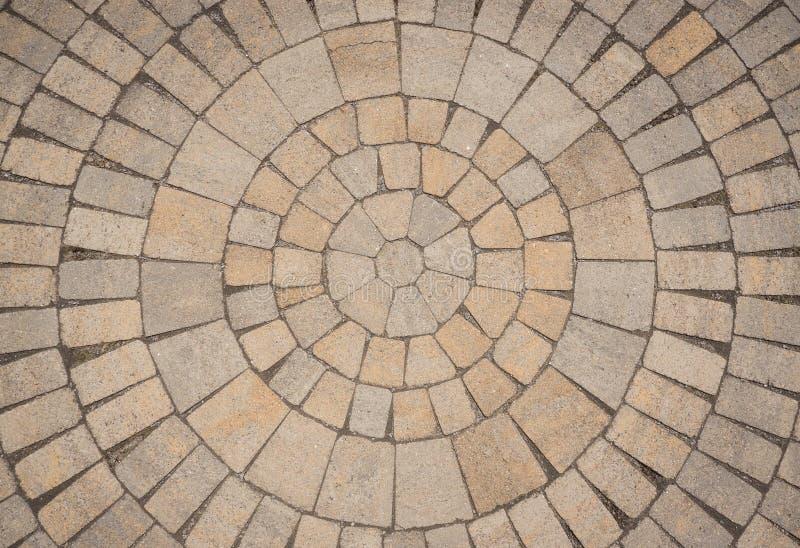 Circular Paving stone pattern. A radial of circular pattern of paving blocks viewed from above royalty free stock photos