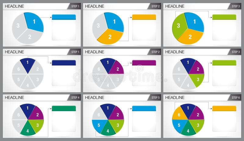 Circular pie divided into 3 equal parts and circular pie divided into 6. Equal parts are illuminated in sequence on white background. Elements for infographics vector illustration
