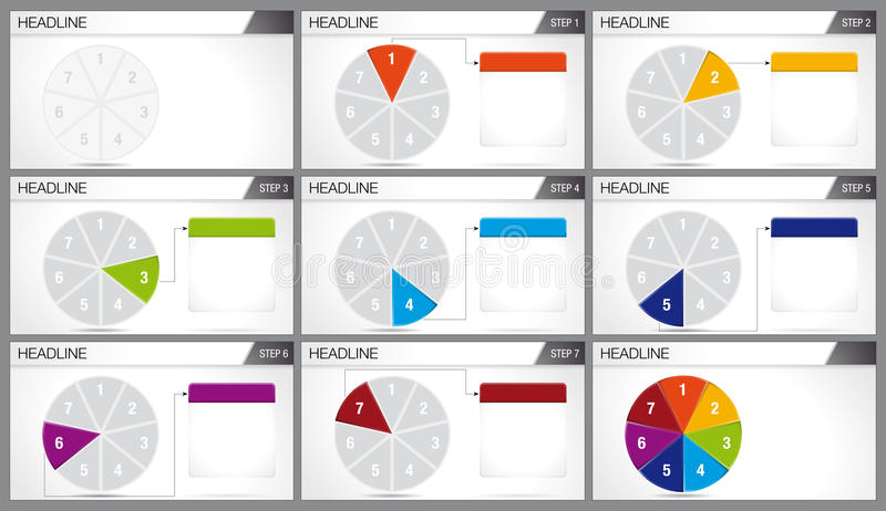 Circular pie divided into 7 equal parts are illuminated in sequence on white background. Elements for infographics. Use in presentation. Vector image stock illustration