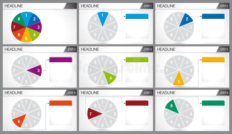 Circular pie divided into 8 equal parts are illuminated in sequence on white background. Elements for infographics, use in presentation. Vector image stock illustration
