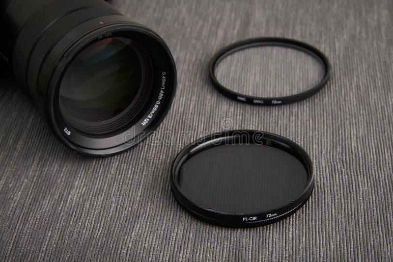 Circular polarizer camera filter. Close up of Circular polarizer camera Lens filter and camera lens stock photo
