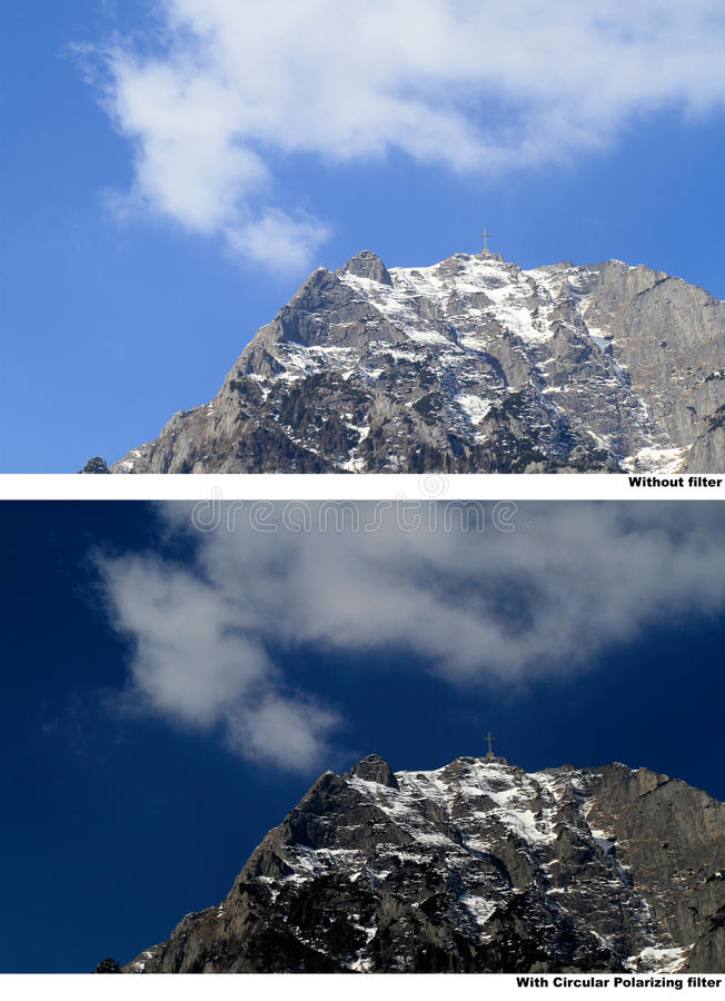 Circular polarizing filter demonstration. Live demonstration of the circular polarizer filter on a snowy mountain peak with blue sky and clouds (Bucegi mountains stock photo