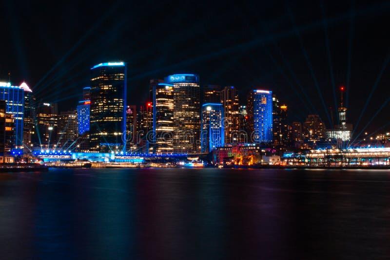 Circular Quay at Sydney`s Vivid Lights Festival 2019 royalty free stock photos