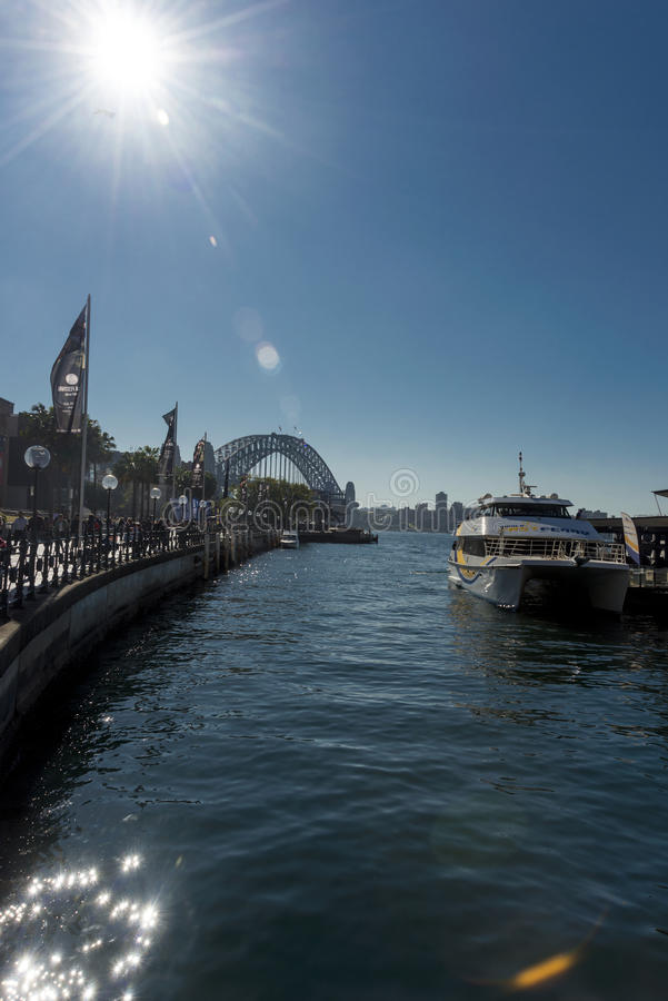 Circular Quay Winter sun flare royalty free stock image