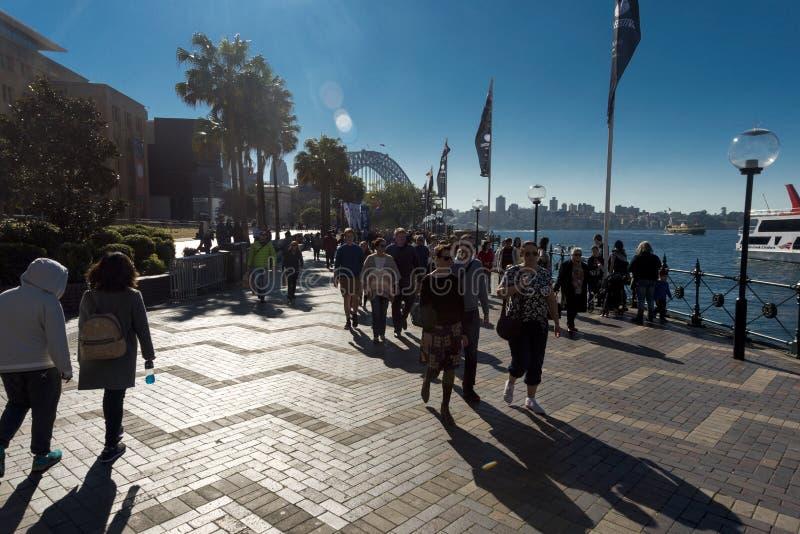 Circular Quay Winter sun flare people royalty free stock photography