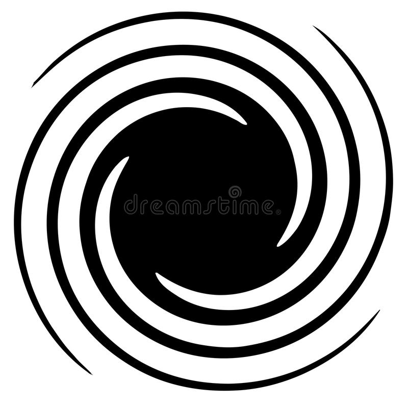 Circular, radial abstract element on white. Radiating shape with. Distortion - Royalty free vector illustration stock illustration