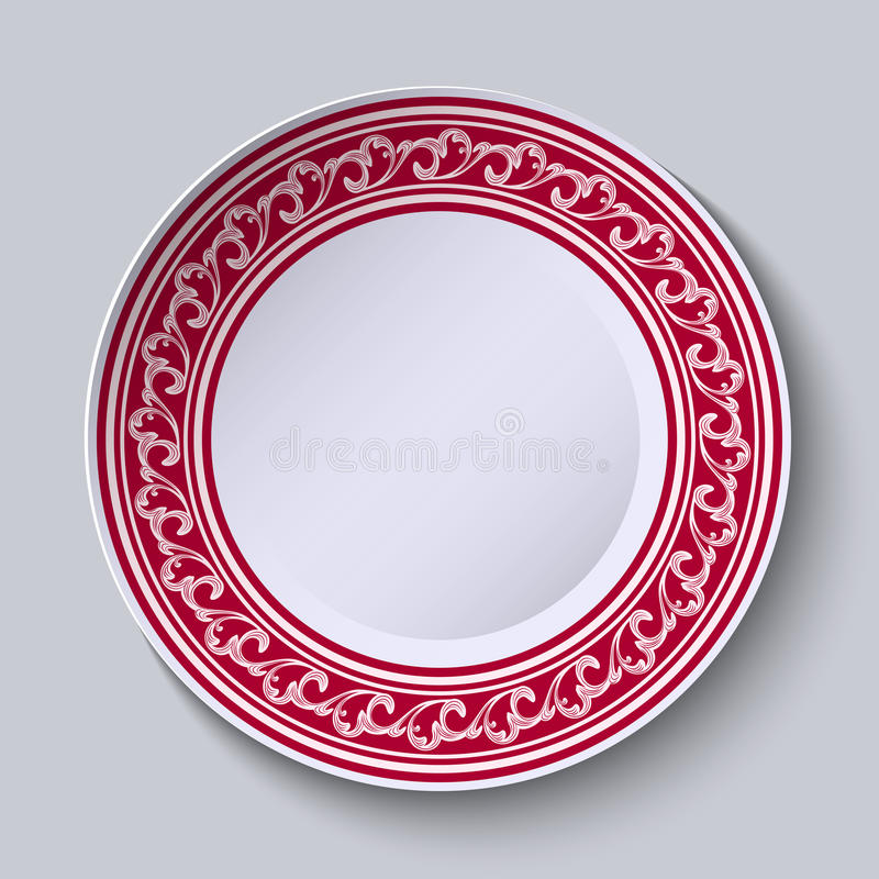 The circular red pattern with empty space in the center. White porcelain plate with a picture in the style of oriental paintings. vector illustration